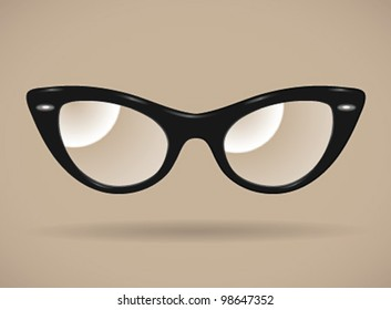 Eyeglasses (cats-eye shape/black/isolated) - vector illustration. Shadow and background are on separate layers. Transparent lens. Easy editing.