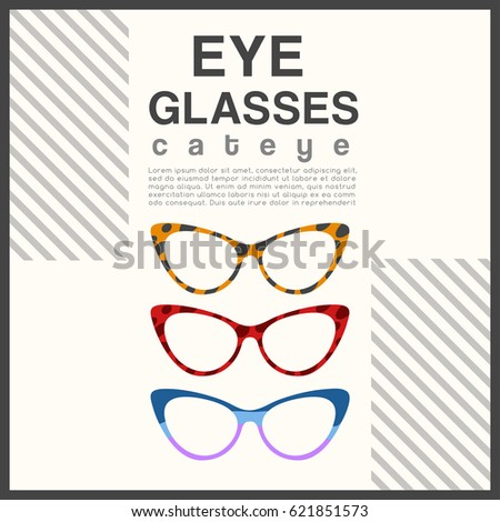 9813348652 Eyeglasses Frame Type Cat Eye Sunglasses Stock Vector (Royalty Free ...