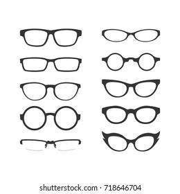 Eyeglasses Frame Vector Set on White Background