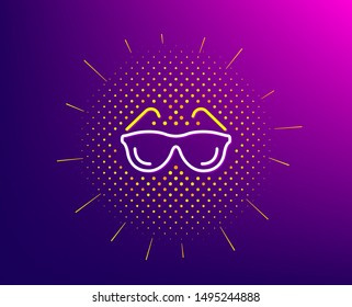Eyeglasses line icon. Halftone pattern. Oculist clinic sign. Optometry vision symbol. Gradient background. Eyeglasses line icon. Yellow halftone pattern. Vector