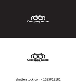eyeglasses logo and initial double g logo on black and white background