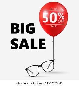 Eyeglasses Sale Banner Concept. Vector Illustration.