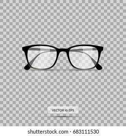 Eyeglasses. Vector illustration. Geek glasses isolated on a white background. Realistic icon black eyeglasses.