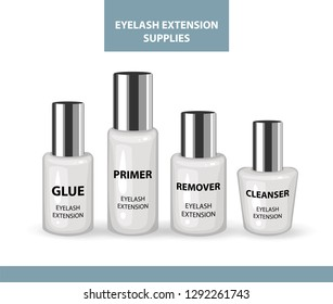 Eyelash Extension Application Tools and Supplies. Remover, Primer, Cleanser, Glue. Products for Makeup & Cosmetic Procedures. Realistic Plastic Containers with Cap. Liquid containers. Cosmetic Vials