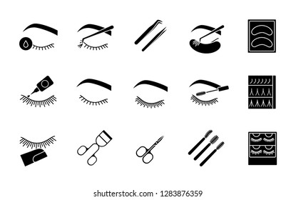 Eyelash extension glyph icons set. Silhouette symbols. Individual, flare lashes. 3D, 2D volume eyelashes. Makeup. Scissors, lash curler, tweezers, mascara wand. Vector isolated illustration