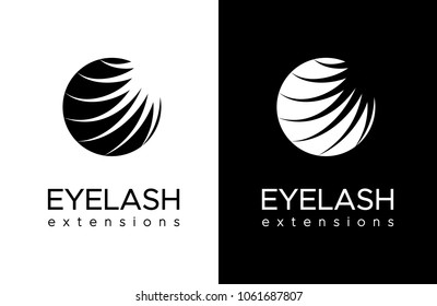 Eyelash extension logo. Black and white design. Vector illustration in a modern style