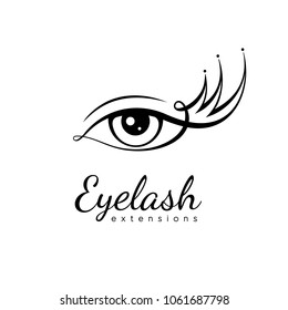 Eyelash extension logo. Eye with eyelashes in the form of a crown. Vector illustration in a modern style