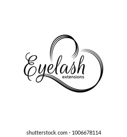 Eyelash extension logo. The lettering and stylized heart. Vector illustration in a modern style