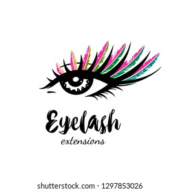 Eyelash extension logo. Makeup with multicolored feathers. Vector illustration in modern style