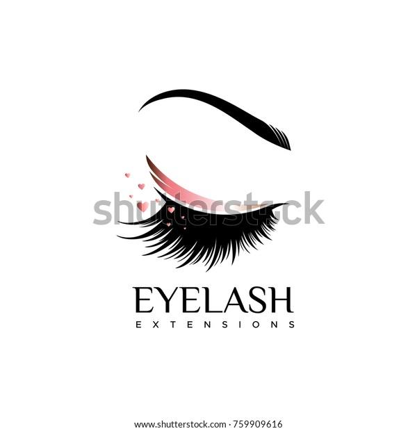 Eyelash Extension Logo Makeup Pearl Shade Stock Vector