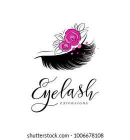 Eyelash extension logo. Makeup with pink roses. Vector illustration in a modern style
