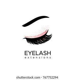 Eyelash extension logo. Makeup with pink glitter. Vector illustration in a modern style