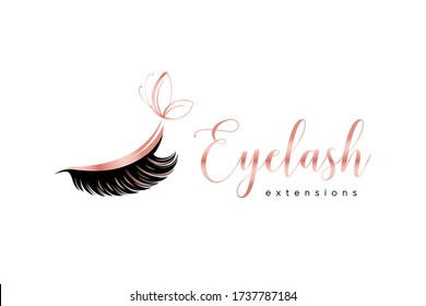 Eyelash extension logo. Makeup with rose gold butterfly. Vector illustration in a feminine style