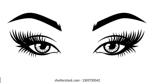 Eyelash extension logo. Vector illustration of eyes with long eyelashes and make-up. For beauty salon, lash extensions maker. On an isolated background