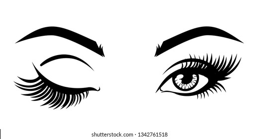 Eyelash extension logo. Vector illustration, with closed and open eyes with long eyelashes for beauty salon.