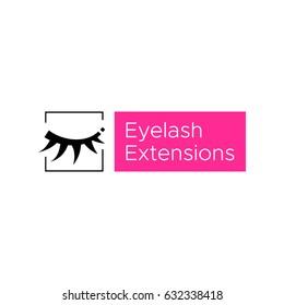 Eyelash extension logo. Vector illustration in modern style