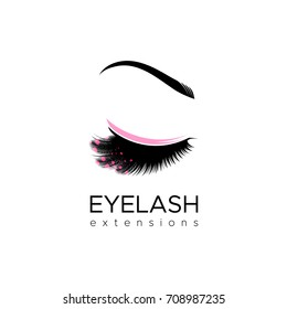 Eyelash extension logo. Vector illustration in a modern style