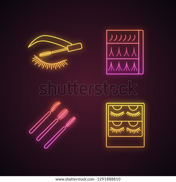 Eyelash Extension Neon Light Icons Set Stock Vector (Royalty