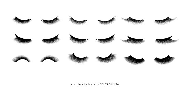 Eyelash extension set. Beautiful black long eyelashes. Closed eye . False beauty cilia. Mascara natural effect. Professional glamor makeup.