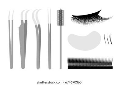 Eyelash extension. Set Professional tools tweezers