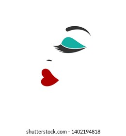 Eyelash extensions, beautiful female abstraсе profile, logo for  beauty salon, design element, glamor girls face. Vector icon