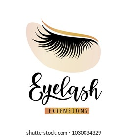 Eyelash extensions logo with eye patch. Vector illustration of lashes. For beauty salon, lash extensions maker.