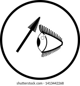 eyelash mascara applicator and eye symbol