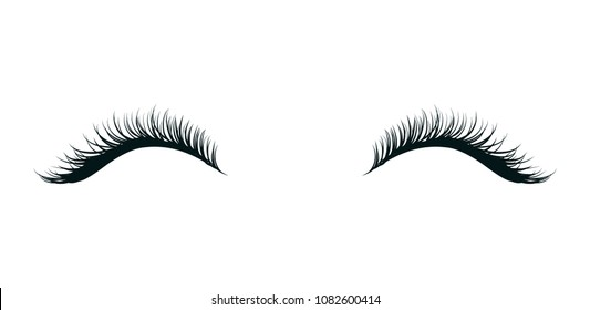 Eyelashes extension, beautiful make up, black artificial lashes isolated on white background. Hand drawn fashion element. Vector illustration.