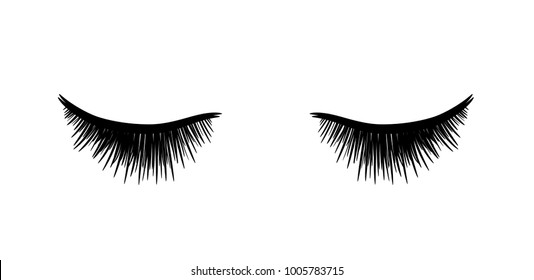 Eyelashes Extension, a hand drawn vector sketch illustration of closed eyes with eyelashes extension.