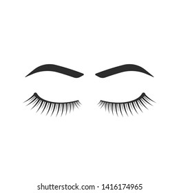 eyelashes and eyebrows black icon. flat simple style trend modern lashes extension logotype graphic element isolated on white. concept of beauty salon emblem or label of easy extension of hair