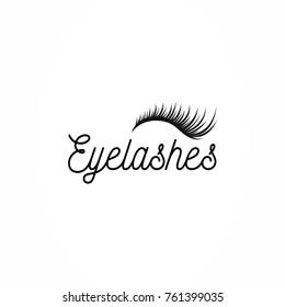 Eyelashes icon logo vector. Long  black eyelash extensions.