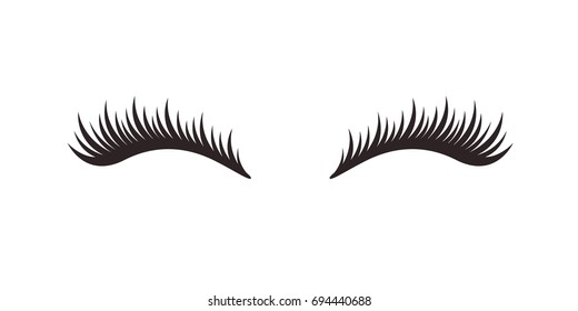 Eyelashes on white background, vector illustration.