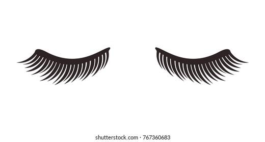Eyelashes on white background, vector illustration.