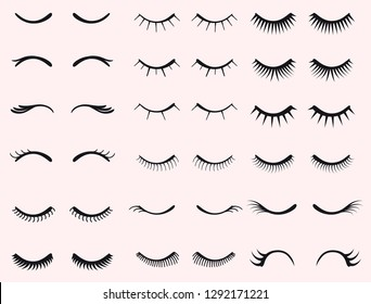 Eyelashes set. Mascara face makeup. Woman beauty Closed eyes. Feminine False lashes collection. Different types of eyelash extensions. Unicorn eyelashes. Vector