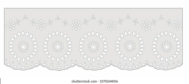 eyelet cotton draw Decorative ornament for border of fabric. Stylized texture of embroidery, imitation satin stitch. Vector pattern for printing on fabric, clothes, hem of dress, cuff, collar.