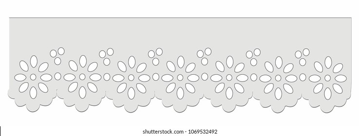 eyelet cotton lace Decorative ornament for border of fabric. Stylized texture of embroidery, imitation satin stitch. Vector pattern for printing on fabric, s, hem of dress, cuff, collar.