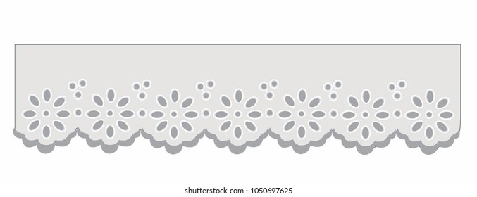 eyelet embroidery lace vector Decorative ornament for border of fabric. Stylized texture of embroidery, imitation satin stitch. Vector pattern for printing on fabric, clothes, hem of dress, cuff, coll