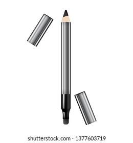 Eyeliner 3d template pencil. Make up realistic pen. Liner. Crayon. Cosmetic Makeup Metallic Eyeliner Pencils. Vector Illustration.