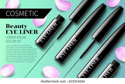 Eyeliner Premium Ads mock up Soft Turquoise Background with Pink Petals. Excellent Advertising. Cosmetic Package Design Sale Promotion New Product. 3D Vector Illustration.