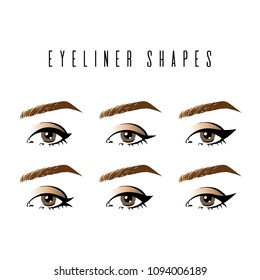 Eyeliner shapes. Various types of eyeliner, womens eyes, white background. Set of different vector eyeliner shapes. Cosmetic makeup. Collection of illustrations with captions. Makeup type info graphic