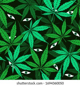 Eyes among cannabis leaves seamless jungle forest green pattern. Hand drawing cartoon vector wild savage and thicket background. Marijuana grass or ganja plant texture. Herbal floral nature wallpaper