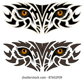 Eyes of an animal in the form of a tribal tattoo