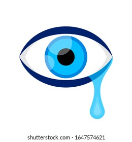 eyes blue and tears cry graphic isolated on white, eyes look simple shape, eyeball and teardrop sign for vision sight and optical care concept, eyes and tear drops clip art, illustration crying eyes