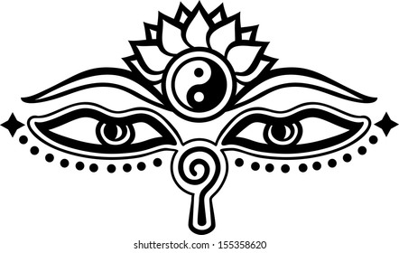 Eyes Buddha Symbol Wisdom Enlightenment Stock Vector Royalty Free