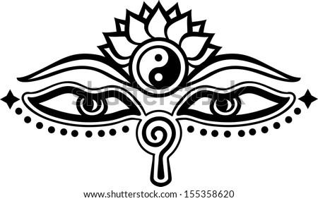 Eyes Buddha Symbol Wisdom Enlightenment Stock Vektorgrafik