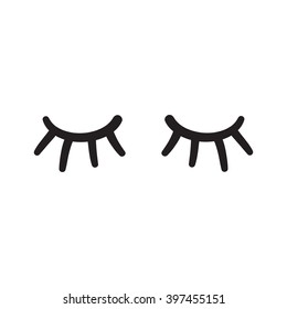 Eyes closed, lases hand drawn vector illustration