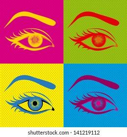 eyes design over colorful background vector illustration