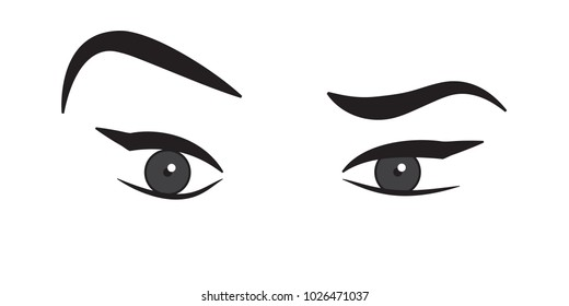 Eyes and eyebrows illustration. Vector