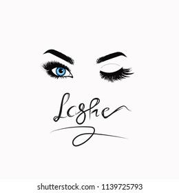 Eyes. Eyelashes logo. Makeup logo. Vector