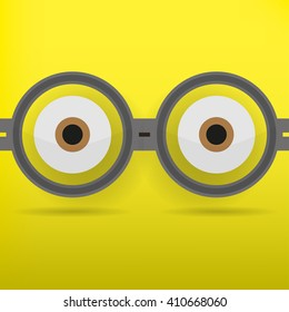Eyes in glasses with shadow on yellow  background